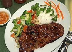 CARSON CITY Viet Pho BBQ Pork Steak and Stir Fried Vegetables