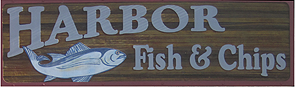 Harbor Fish and Chips Logo Oceanside Seafood Restaurant